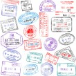 Vettoriale Stock : Passport Stamps