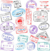 Passport Stamps — Vettoriale Stock