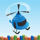 The helicopter flying by over a city — Stock Vector