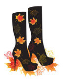 Autumn boots with maple leaves — Stock Vector