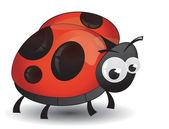 Comic ladybird isolated — Stock Vector