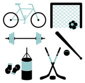 Set of sporting equipment isolated — Stock Vector