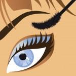 Beauty salon close-up of a beautiful female eye mascara. Vector — Stock Vector