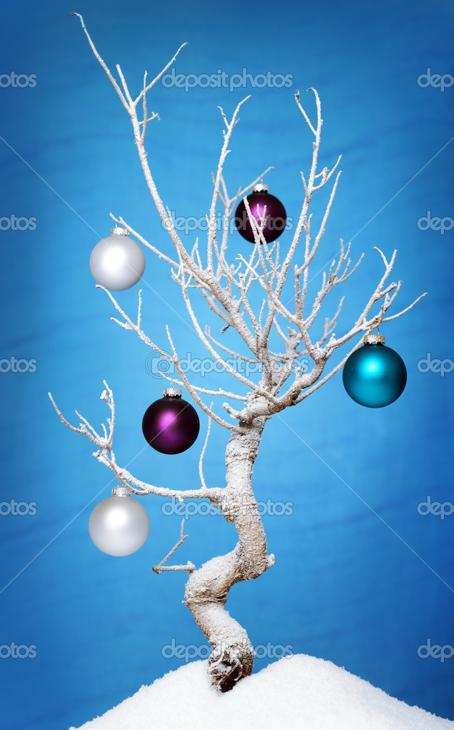 Frozen tree with christmas decoration  Stock Photo #6117839