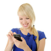 Girl with smart phone — Stock Photo