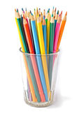 Colored pencils in cup — Stock Photo