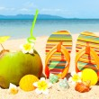 Beach with palm and and exotic coctail — Stock Photo #6583252