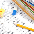 Test score with pencil, notebook and eraser — Stock Photo #6702713
