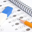 Test score with pencil, notebook and eraser - Foto de Stock