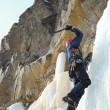 Young man, ice climbing an attractive route. — Stock Photo #6703134
