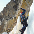 Young man, ice climbing attractive route. — Stock Photo #6703134