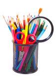 Verschillende kleur potloden geïsoleerd op de witte — Stockfoto