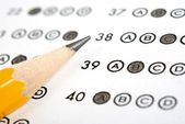 Test score sheet with answers — Stock Photo