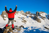 Hiking in the winter mountains — Stock Photo