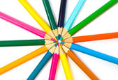 Coloured pencils on white background — Stockfoto