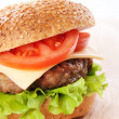 Cheeseburger with tomatoes and lettuce — 图库照片