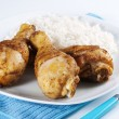 Roasted chicken legs with boiled rice — Foto Stock