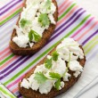 Sandwich with cottage cheese and coriander — Stock Photo