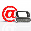 Horizontal mobile phone and email sign. isolated. 3d render — Stock Photo #6219922