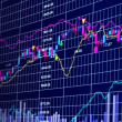 Stock Photo: 3d blue stock chart