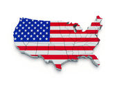 USA flag map. 3d — Stock Photo