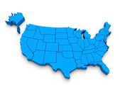 Blue map of USA. 3d — Stock Photo