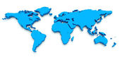 3D World Map. Blue — Stock Photo