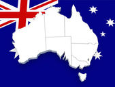 Australia map on flag — Stock Photo