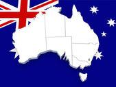 Australia map on flag — Stock Photo