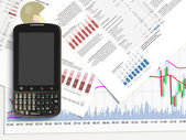 Phone on a market report — Stock Photo