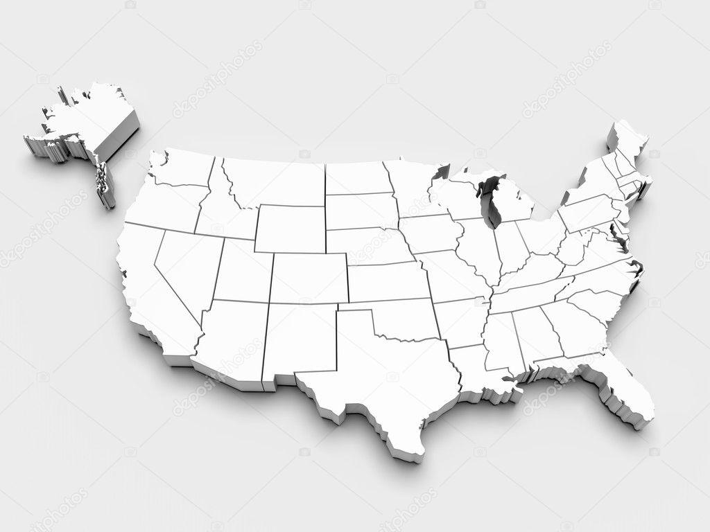 美国的地图.3d