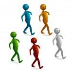 Cartoon stick figure walking — Stock Vector #6324019