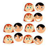 Men and women cartoon emotions — Stock Vector