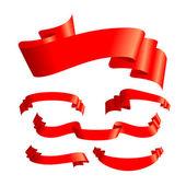 Um conjunto de seis bandeiras vermelhas — Vetor de Stock