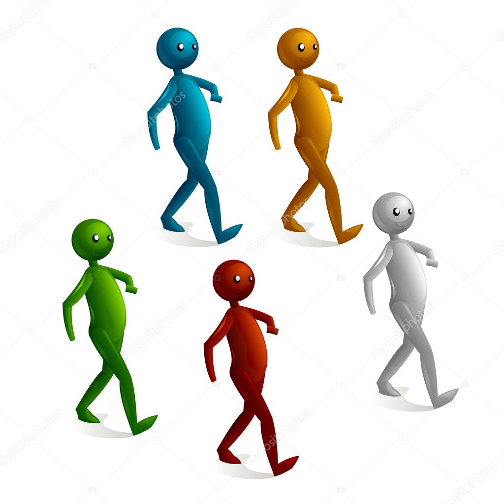 Cartoon stick figure walking — Stock Vector #6324019