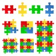 Vector jigsaw puzzle pieces — Stock Vector