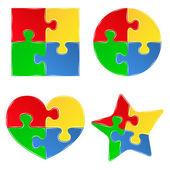 Forme vettoriali di pezzi di puzzle jigsaw — Vettoriale Stock