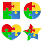 Vector shapes of jigsaw puzzle pieces — ストックベクタ