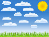 Vector green grass, sun and clouds — Vector de stock