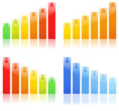Vector Bar Graphs — Stock Vector