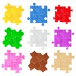 Set of vector jigsaw puzzle patterns — Stock Vector