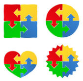 Vector formas de rompecabezas con flechas — Vector de stock
