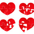 Vector Red Heart Puzzles — Stock Vector