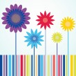 Stock Vector: Summertime flowers greeting card
