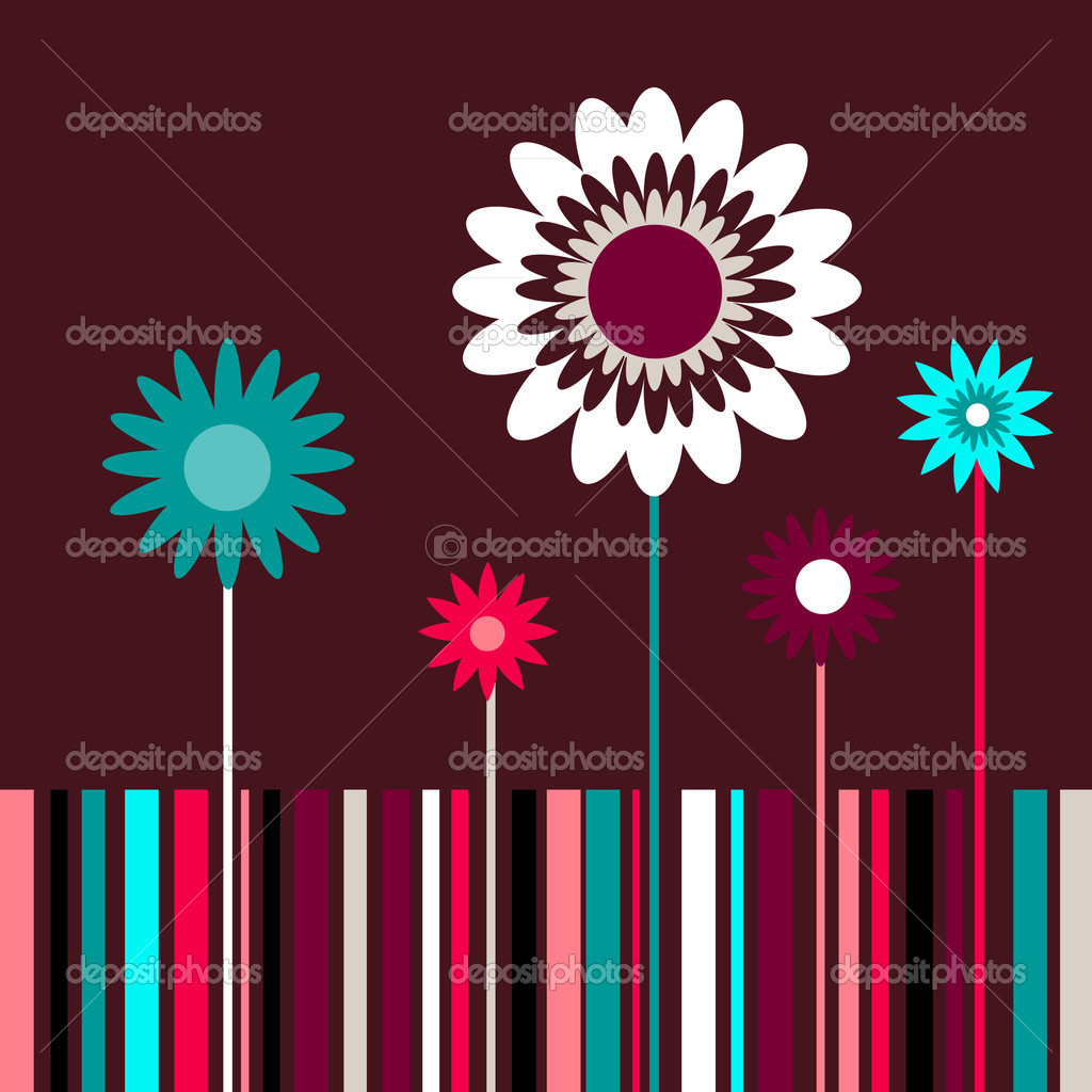 Summertime flower greeting card with lines  Stock Vector #6164867