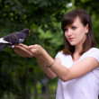 Girl holding a pigeon — Stock Photo