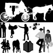 Royalty-Free Stock Imagem Vetorial: Cowboys and horses vectors