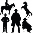 Cowboy and horse silhouettes on a white background — Stock Vector