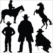 Cowboy and horse silhouettes on a white background - Stock Vector
