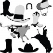 Cowboy on horse silhouettes - Stock Vector